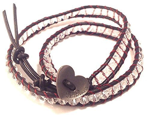 Bella Ryann Double Wrap Bracelet Clear Crystal with Dark Brown Leather