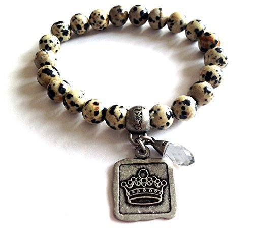 Bella Ryann Crown Jewels Dalmatian Jasper Bracelet Silver Crown Charm and Cry...