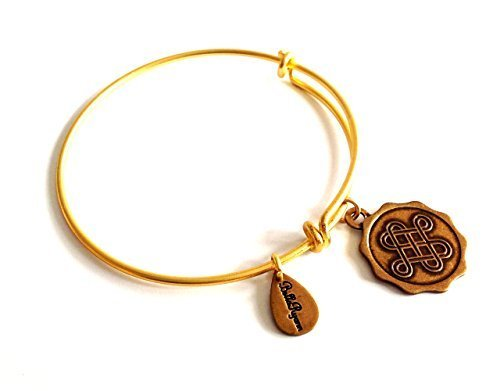 Bella Ryann Early Edition of Celtic Love Knot Round Gold Charm Bangle Bracelet