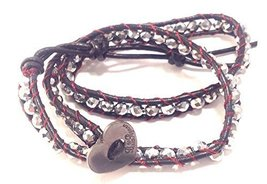 Bella Ryann Double Wrap Bracelet Silver Crystal with Dark Brown Leather