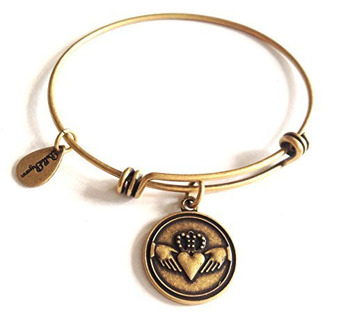Bella Ryann Claddagh Gold Charm Bangle Bracelet