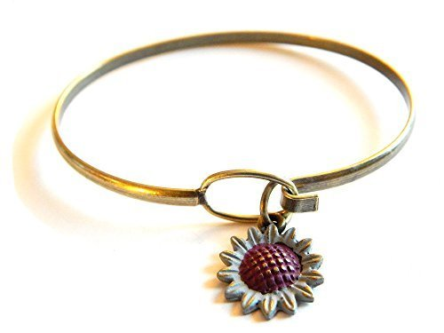 Sunflower Charm Bangle Bracelet (Grey)