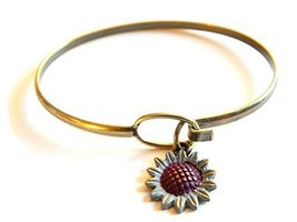 Sunflower Charm Bangle Bracelet (Grey) Gleeful Peacock