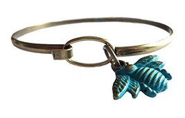 Gleeful Peacock Bee Charm Bangle Bracelet Blue Hand Painted