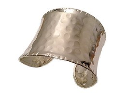 Silver Plated Hammered Wide Cuff Bracelet