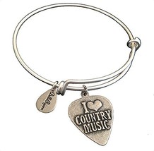 Bella Ryann I Love Country Music Silver Charm Bangle Bracelet