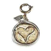 Gold Heart on Silver Coin Charm