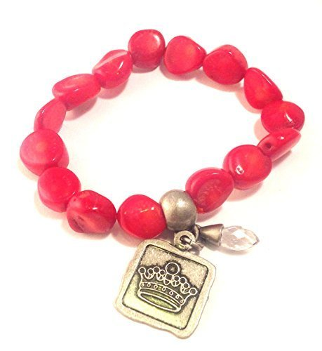 Bella Ryann Crown Jewels Red Coral Bracelet Silver Crown Charm and Crystal