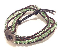 Bella Ryann Double Wrap Bracelet Green Crystal with Dark Brown Leather