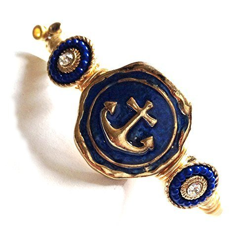Guitar Strings Bracelet with Nautical Navy Anchor Gold Wire Wrapped Size 7.5