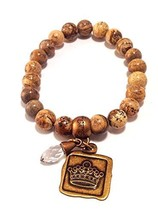 Bella Ryann Crown Jewels Picture Jasper Bracelet Gold Crown Charm and Crystal