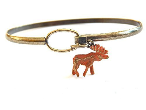 Moose Charm Bangle Bracelet (Brown)