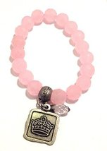 Bella Ryann Crown Jewels Pink Dyed Quartz Jade Bracelet Silver Crown Charm an...