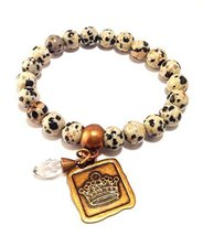 Bella Ryann Crown Jewels Dalmatian Jasper Bracelet Gold Crown Charm and Crystal
