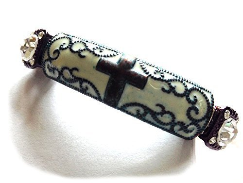 Guitar Strings Bracelet with Vintage Look Cross on Bar Wire Wrapped Size 7.5