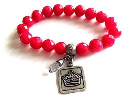 Bella Ryann Crown Jewels Pink Dyed Jade Bracelet Silver Crown Charm and Crystal