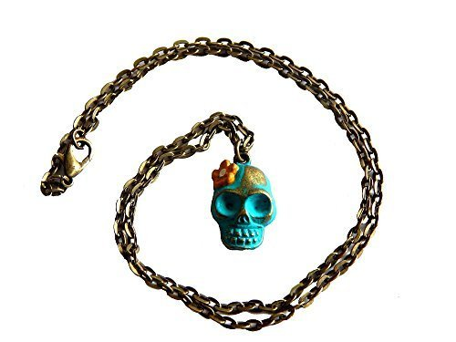 Day of the Dead Skull Necklace - Aqua