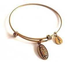 Bella Ryann Lady of Guadalupe Gold Charm Bangle Bracelet