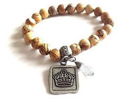 Bella Ryann Crown Jewels Picture Jasper Bracelet Silver Crown Charm and Crystal
