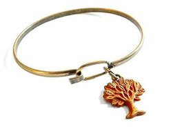 Gleeful Peacock Tree of Life Charm Bangle Bracelet Orange Hand Painted