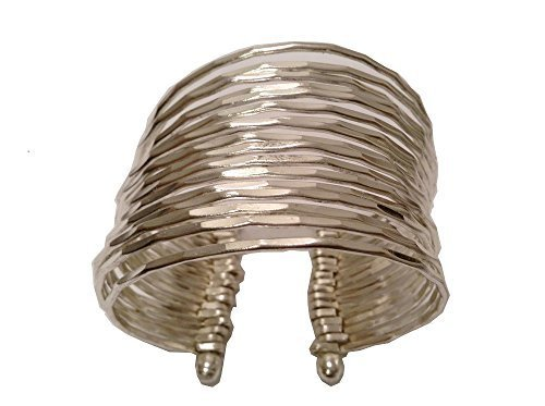 Silver Plated Stacking Hammered Wide Cuff Bracelet