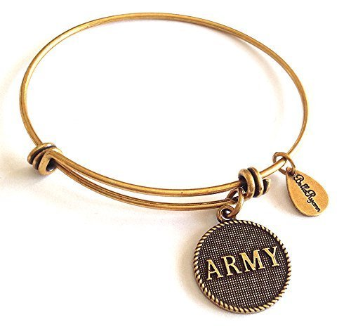 Bella Ryann Army Gold Charm Bangle Bracelet