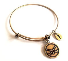 Bella Ryann Hockey Round Gold Charm Bangle Bracelet