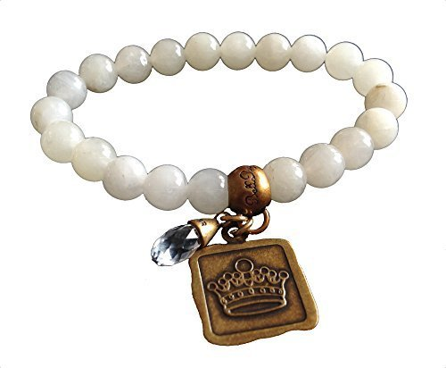 Bella Ryann Crown Jewels Picture Aventurine Bracelet Gold Crown Charm and Cry...