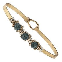 Hammered Gold Wire Wrapped Rhinestone Latch Bracelet - Black Diamond Crystal