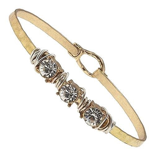 Hammered Gold Wire Wrapped Rhinestone Latch Bracelet - Clear Crystal