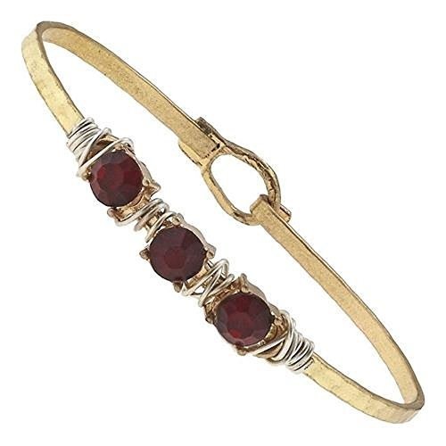 Hammered Gold Wire Wrapped Rhinestone Latch Bracelet - Garnet Crystal