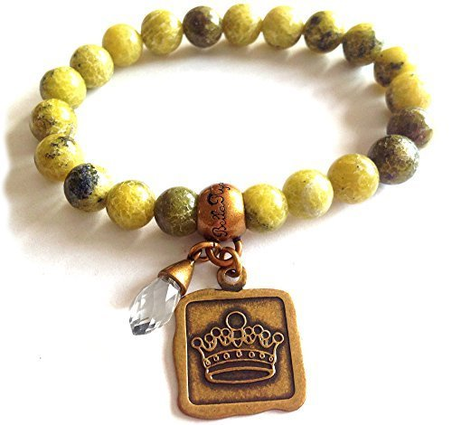 Bella Ryann Crown Jewels Yellow Howlite Bracelet Gold Crown Charm and Crystal