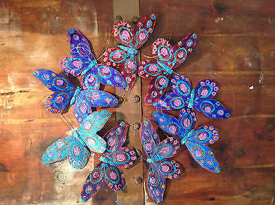 Hübsche Pfau Blue L Glitzer Feder Schmetterling Girlande mobil