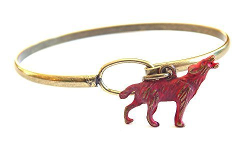 Howling Wolf Charm Bangle Bracelet (Red)