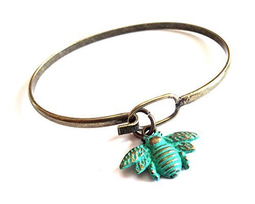 Bee Charm Bangle Bracelet (Green)