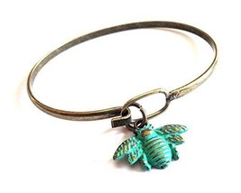 Gleeful Peacock Bee Charm Bangle Bracelet Turquoise Hand Painted