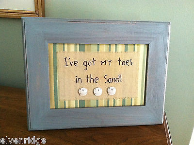 "Framed ""I've Got My Toes in the Sand"" Embroidered wall art"