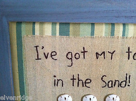"Framed ""I've Got My Toes in the Sand"" Embroidered wall art image 3"