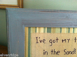 "Framed ""I've Got My Toes in the Sand"" Embroidered wall art image 2"