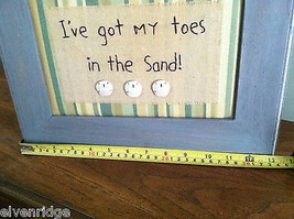 "Framed ""I've Got My Toes in the Sand"" Embroidered wall art image 7"