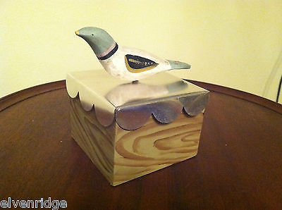 Wooden Spring Bird - blue head white body - on hand painted trinket box