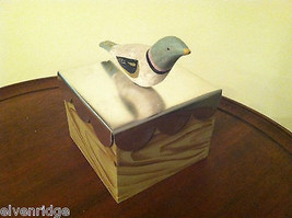 Wooden Spring Bird - blue head white body - on hand painted trinket box image 9