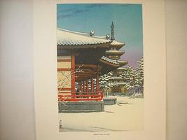 Reproduction Vintage Woodblock Print 1951 Yakushi Temple Nava in Snow
