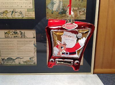 Santa and Rudolph Glass TV Shaped 50 Years Christmas Ornament