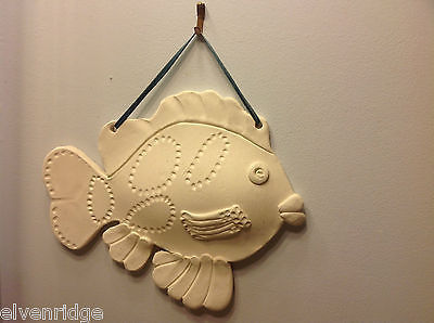 One of a Kind Two White Bisque fired Fish wall hangings by New York Artist