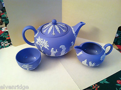 1957 Wedgwood Jasperware Set - Tea pot, sugar bowl, and milk server
