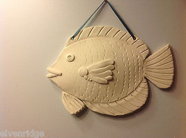 One of a Kind Two White Bisque fired Fish wall hangings by New York Artist image 2
