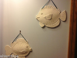 One of a Kind Two White Bisque fired Fish wall hangings by New York Artist image 3