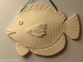 One of a Kind Two White Bisque fired Fish wall hangings by New York Artist image 5
