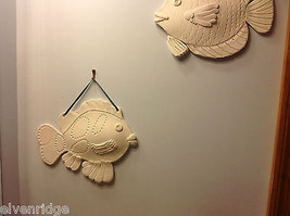 One of a Kind Two White Bisque fired Fish wall hangings by New York Artist image 4